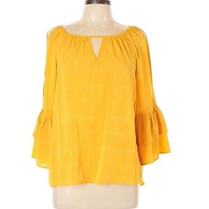BCX Open Shoulder Blouse with Bell Sleeves